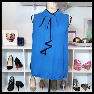 New York & Co Necktie Tank Blouse in Cobalt Blue